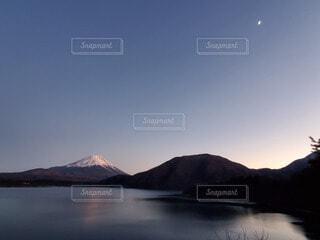 自然,風景,空,夕日,富士山,屋外,湖,水面,山,月,夕陽