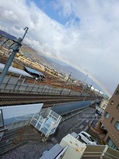 空,屋外,雲,電車,虹,にじ