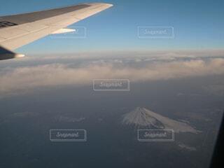 空,富士山,屋外,雲,飛行機,霧,山,雲海,空中,航空機
