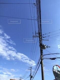 空,屋外,雲,電柱,電線,電源供給
