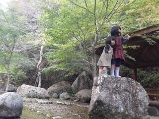 風景,屋外,樹木,岩,人物,人,ハイキング,草木,履物