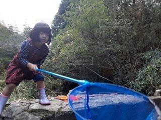 子ども,自然,風景,魚,屋外,青,川,女の子,樹木,人物,人,網,幼児,遊び,少年,若い,遊び場,自給自足,景観,川遊び,パドル,頑張る,必死,チャレンジ,協力,行楽,少し
