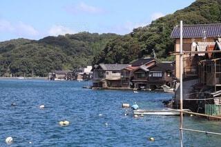 空,屋外,湖,ボート,船,水面,山,家,水上バイク