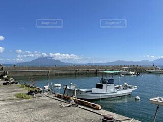 夏の漁港と桜島の写真・画像素材[4889395]