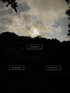 自然,風景,空,屋外,雲,山,樹木,月,くもり
