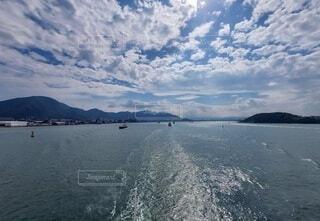 自然,海,空,屋外,雲,船,水面,山
