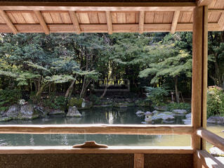 日本庭園のあずまやの中から池を眺めるの写真・画像素材[4942359]