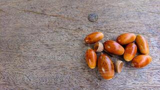 食べ物,自然,アウトドア,秋,屋外,オレンジ,果物,どんぐり,地面,野外,ドングリ,ナット