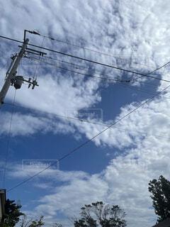 空,屋外,雲,電柱,景観,日中,電源供給
