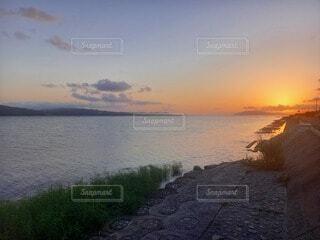 自然,風景,海,空,屋外,湖,ビーチ,雲,夕暮れ,水面,日の出
