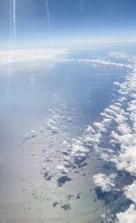 自然,風景,海,空,雲,島,飛行機,水面,海岸,空中,フライト,高い