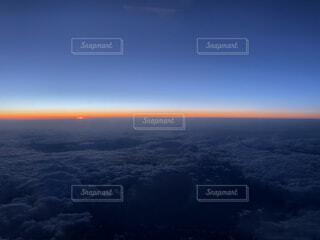 自然,空,屋外,雲,夕暮れ,飛行機,水面,雲海