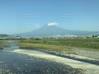 自然,風景,空,富士山,屋外,雲,川,山