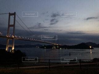自然,風景,海,空,夜,橋,屋外,湖,ビーチ,雲,波打ち際,水面,海岸,田舎,瀬戸内海,瀬戸内