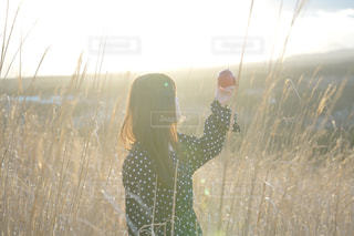 草の中に立っている人の写真・画像素材[1617460]