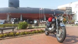花,屋外,駐車場,オートバイ,車両,日中,潜水艦,陸上車両