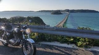 空,橋,屋外,バイク,海岸,景色,角島,オートバイ,車両