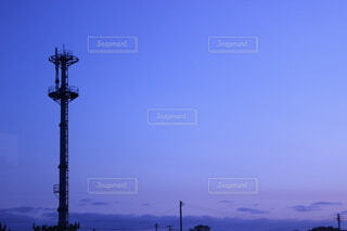 風景,空,屋外,夕暮れ,電波塔,街路灯