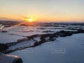 自然,空,冬,雪,屋外,太陽,夕暮れ,飛行機,日没