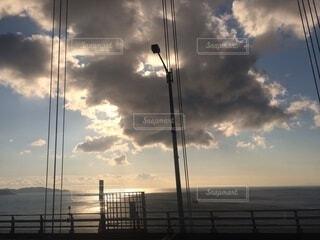海,空,屋外,太陽,雲,水面,くもり