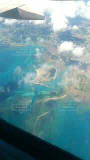 海,島,飛行機,水面,葉,空中,エメラルドブルー,テキスト