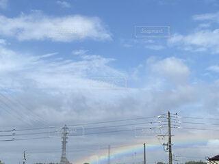 空,屋外,雲,青,虹,電線,景観,日中