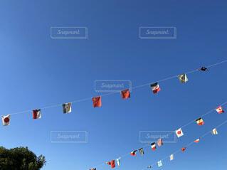 空,屋外,青空,青,運動会,万国旗