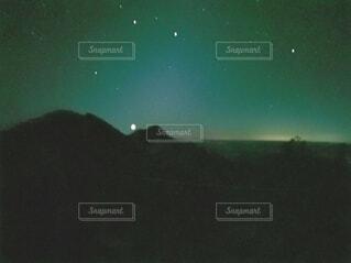風景,夜空,山,月