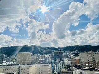 風景,空,建物,屋外,太陽,雲,山,光,都会,高層ビル