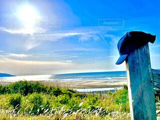 自然,風景,海,空,屋外,太陽,ビーチ,雲,帽子,水面,眺め