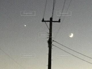 自然,風景,空,月、星 電柱 夜空