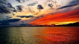 自然,風景,空,屋外,太陽,ビーチ,雲,夕焼け,夕暮れ,水面,日の出