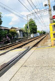 屋外,駅,黄色,樹木,道,トラック,レール,#線路,#秋晴れ