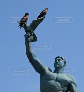 空,鳥,屋外,像,彫刻