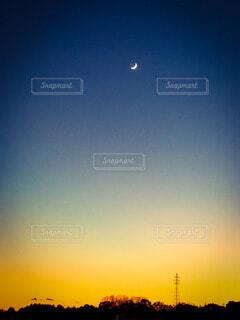 自然,風景,空,屋外,夕暮れ,月,三日月