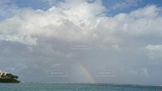 海,空,雲,水,虹,水色,レインボー,キラキラ,エメラルドグリーン,ダブルレインボー,テンションアップ,幸せ気分,いい事あるよ