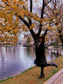 風景,公園,秋,紅葉,屋外,湖,海外,帽子,水面,池,樹木,ジャケット,ロシア,モスクワ