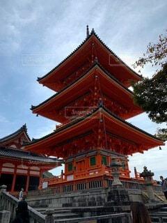 風景,空,建物,秋,清水寺,屋外,京都,神社,赤,雲,観光,樹木,旅行,寺院,寺,歴史,建築,観光名所,日本文化