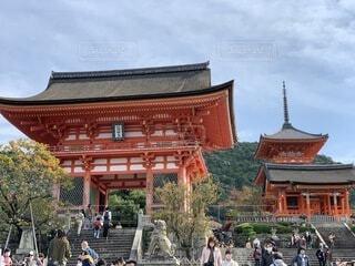 空,建物,秋,清水寺,屋外,京都,神社,観光,樹木,旅行,寺院,寺,歴史,建築,観光名所,日本文化