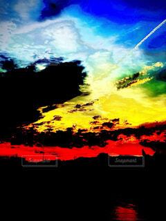 空,屋外,赤,雲,青,飛行機雲,黄,終焉