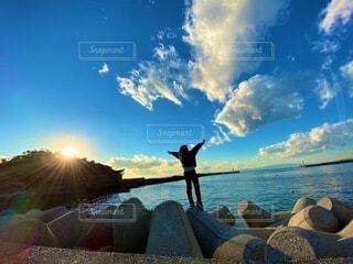 自然,空,太陽,ビーチ,雲,水面
