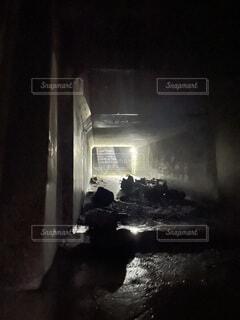 夜,トンネル,暗闇