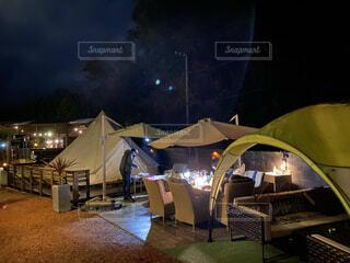 空,夜,家,家具,キャンプ,テント,グランピング
