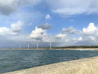 自然,海,空,屋外,雲,水面,風車