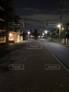 風景,空,夜,屋外,散歩,道,通り,街路灯,暗渠