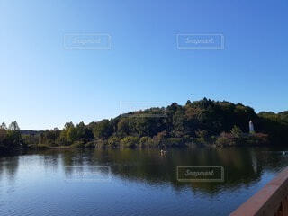 木々に囲まれた湖の写真・画像素材[4922293]
