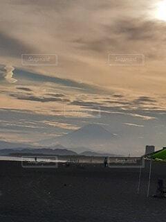 自然,富士山,水面