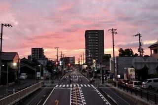 歩道橋と夕焼けの写真・画像素材[4923435]