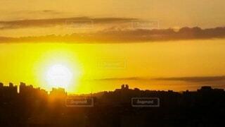 朝日,日の出,都市の朝