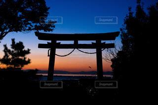 空,神社,夕焼け,鳥居,樹木